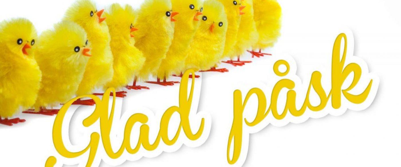 """Gula kycklingar och text """"glad påsk""""."""